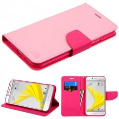 HTC Bolt Pink Pattern/Hot Pink Liner Wallet with Card Slot