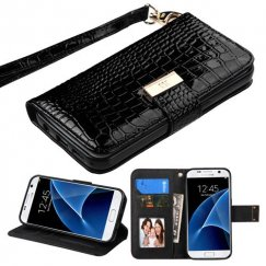 Samsung Galaxy S7 Black Crocodile-Embossed Wallet
