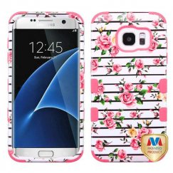 Samsung Galaxy S7 Edge Pink Fresh Roses/Electric Pink Hybrid Case