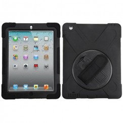 AppleiPad 1st Generation 2010 Black/Black Rotatable Stand Protector Cover (with Wristband)