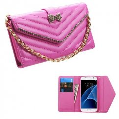 Samsung Galaxy S7 Hot Pink Premium Quilted Wallet with Bracelet