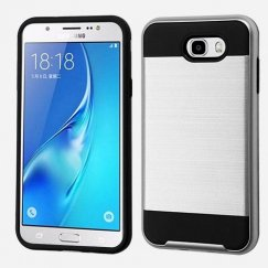 Samsung Galaxy J7 Silver/Black Brushed Hybrid Case