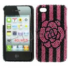Apple iPhone 4/ 4S Full Diamond Crystal Couture Rhinestone Back Cover, Pink/ Black Rose pattern