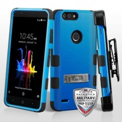 ZTE Blade Z Max / Sequoia Z982 Natural Dark Blue/Black Hybrid Case with Stand and Black Horizontal Holster