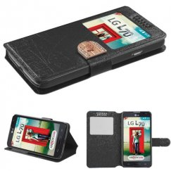 LG Optimus L70 Black Embossed Book-Style Wallet with window