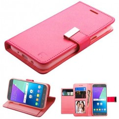 Samsung Galaxy J3 Hot Pink/Pink PU Leather Wallet with extra card slots (GE033) -WP