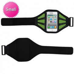 Vertical Pouch Universal Black Sport Armband (with Baby Green Mess Ports)