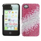 Apple iPhone 4/ 4S Full Diamond Crystal Couture Rhinestone Back Cover, Pink/ Light Pink pattern