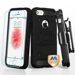 Apple iPhone 5/5s Black/Black 3-in-1 Case Combo with Black Holster with Tempered Glass Screen Protector