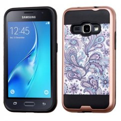 Samsung Galaxy J1 Purple European Flowers Rose Gold/Black Brushed Hybrid Case