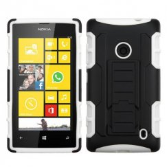 Nokia Lumia 520 Black/White Car Armor Stand Case - Rubberized