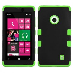 Nokia Lumia 521 Rubberized Black/Electric Green Hybrid Case