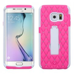 Samsung Galaxy S6 Edge White/Hot Pink Symbiosis Stand Case with Diamonds