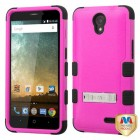 ZTE Avid Plus / Maven 2 Natural Hot Pink/Black Hybrid Case with Stand