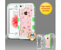 Apple iPhone 5/5s Natural Ivory White Frame Tiny Blossoms PC Back/Electric Green Vivid Hybrid Case