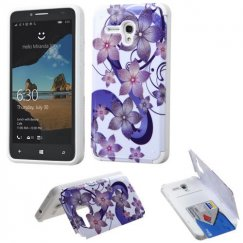 Alcatel One Touch Fierce XL Purple Hibiscus Flower Romance /White Advanced Armor Stand Case with Card Wallet