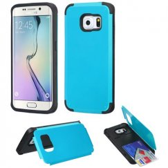 Samsung Galaxy S6 Edge Tropical Teal Inverse Advanced Armor Stand Case with Card Wallet