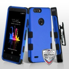 ZTE Blade Z Max / Sequoia Z982 Titanium Dark Blue/Black Hybrid Case Military Grade with Black Horizontal Holster