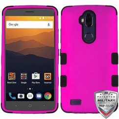 ZTE Blade Max 3 / Max XL Titanium Solid Hot Pink/Black Hybrid Case Military Grade
