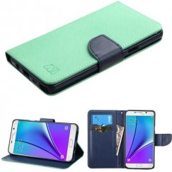 Samsung Galaxy Note 5 Teal Green Pattern/Dark Blue Liner wallet with Card Slot