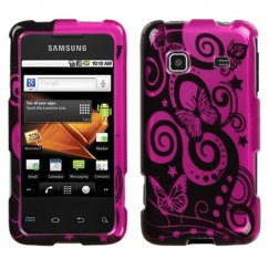 Samsung Galaxy Prevail Playful Butterfly/Hot Pink 2D Silver Case