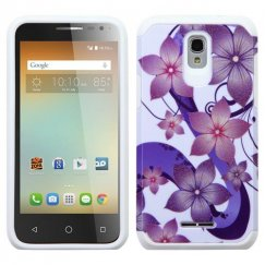 Alcatel One Touch Elevate Purple Hibiscus Flower Romance /White Advanced Armor Case