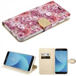 Samsung Galaxy J7 Summer Blossom Diamante Wallet(with Diamante Belt)(DM108) -WP