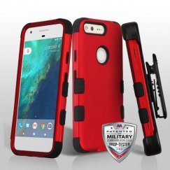 Google Pixel Titanium Red/Black Hybrid Case - Military Grade with Black Horizontal Holster