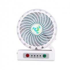 White portable USB rechargeable fan with phone charging function