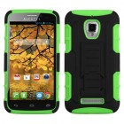 Alcatel One Touch Fierce Black/Electric Green Car Armor Stand Case - Rubberized