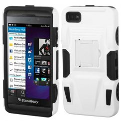 Blackberry Z10 White/Black Advanced Armor Stand Case - Rubberized