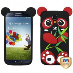 Samsung Galaxy S4 Red/Black Panda Pastel Skin Cover