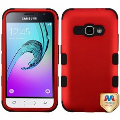 Samsung Galaxy J1 Titanium Red/Black Hybrid Case