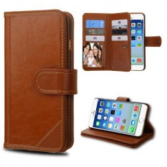 Apple iPhone 6/6s Brown Genuine Leather D'Lux Wallet with Button Closure