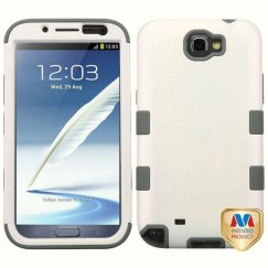 Samsung Galaxy Note 2 Rubberized Pearl White/Iron Gray Hybrid Case