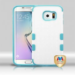 Samsung Galaxy S6 Edge Natural Cream White/Tropical Teal Hybrid Case
