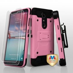 ZTE Grand X Max 2 Pink/Black 3-in-1 Kinetic Hybrid Case Combo with Black Holster(Twin Screen Protectors)