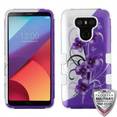 LG G6 Twilight Petunias (2D Silver)/Solid White Hybrid Case Military Grade