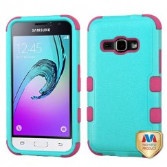 Samsung Galaxy J1 Natural Teal Green/Electric Pink Hybrid Case