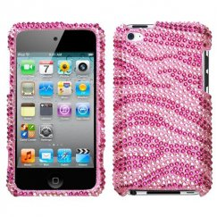 Apple iPod Touch (4th Generation) Zebra Skin Pink/Hot Pink Diamante Case