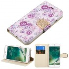 Apple iPhone 7 Fresh Purple Flowers Diamante Wallet(with Diamante Belt)