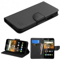 Alcatel One Touch Conquest Black Pattern/Black Liner wallet with Card Slot
