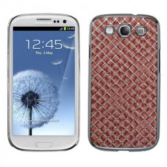 Samsung Galaxy S3 Vermilion Silver Plating Plaid/Silver Executive Back Case