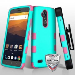 ZTE Blade Max 3 / Max XL Rubberized Teal Green/Electric Pink Hybrid Case Military Grade with Black Horizontal Holster