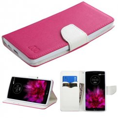 LG G Flex 2 Hot Pink Pattern/White Liner wallet with Card Slot