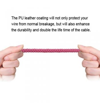 Hot Pink Micro USB USB Braided Leather Data Cable (with Aluminum Alloy Connector Encapsulation) 3.3FT