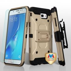 Samsung Galaxy J7 Gold/Black 3-in-1 Kinetic Hybrid Case Combo with Black Holster and Tempered Glass Screen Protector