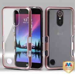 LG K10 Metallic Rose Gold/Transparent Clear Panoview Hybrid Case