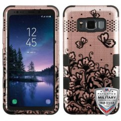 Samsung Galaxy S8 Active Black Lace Flowers (2D Rose Gold)/Black Hybrid Case Military Grade