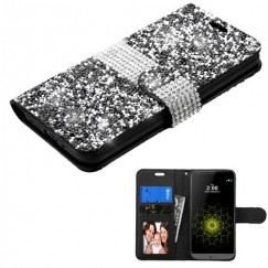 LG G5 Black Mini Crystals with Silver Belt Wallet